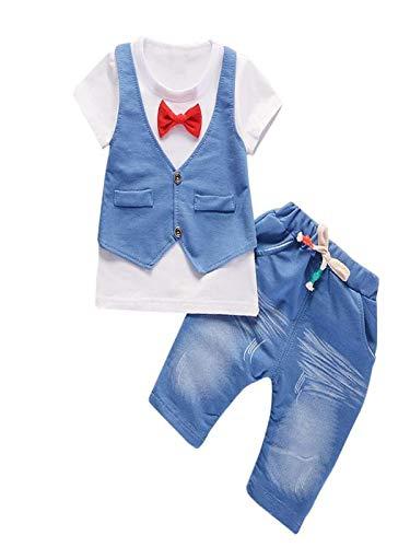 BHYDRY NiñIto Niños Bebé Chico Conjuntos Manga Corta Camiseta + Pantalones Caballero Ropa Trajes(Blanco,90)