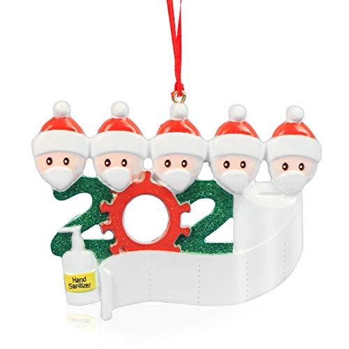 Wishstar Adorno de Familia Sobrevivido, Adornos 2020 Árbol Navidad, 5 Personas Colgantes Muñeco de Nieve Decoración, Cuarentena en Casa Adorno de Arbol de Navidad Personalizado de la Familia