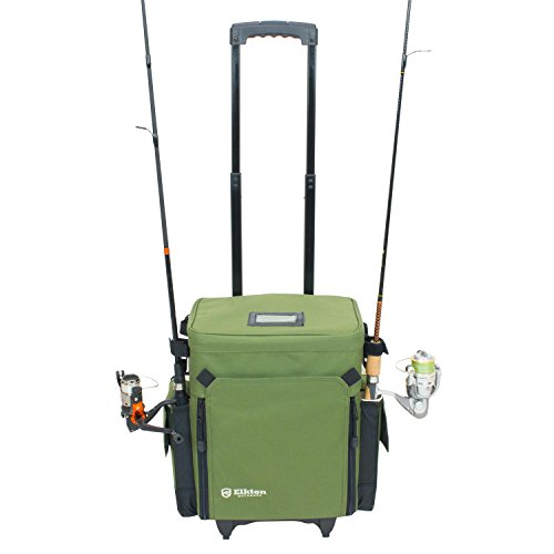 Elkton Outdoors Rolling Tackle Box Green, L 15.7 x W 9.6 x H 18.5 inches, 11 pounds, Waterproof, 5 Removable Tackle Trays, 4 Rod Holders, Rolling Fishing Tackle Bag, Roller Tackle Box