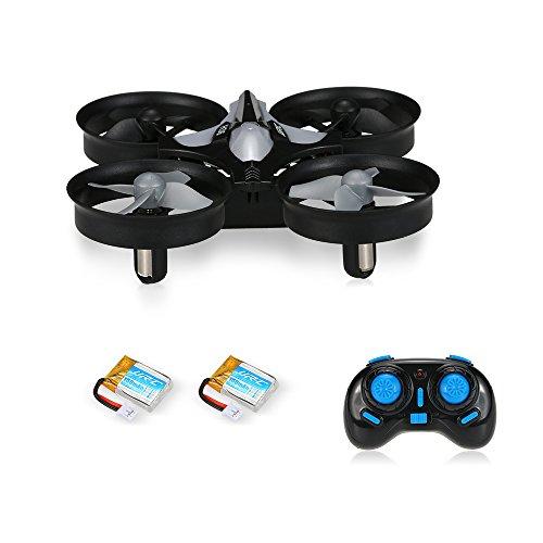 Mini Drone Cuadricóptero 2.4G 4CH Girocompás 6 Ejes Antiaplastamiento con Modo de Retorno y sin Cabeza - Quadcopter Helicopteros Headless JJRC H36 color negro con 2 baterías