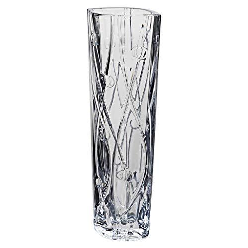 la galaica   Floreros Decorativos Modernos de Cristal - Jarrones - de Bohemia - Colección Labyrinth Estrecho - 10x8,5x30,5 cm   Regalos para Bodas de Oro y Plata