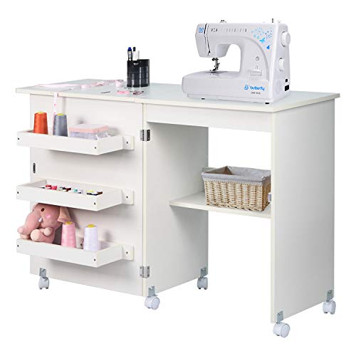 NSdirect Sewing Table, Folding Sewing Craft Cart&Sewing Cabinet Miscellaneous Sewing Kit Art Desk with Storage Shelves and Lockable Casters,(White)