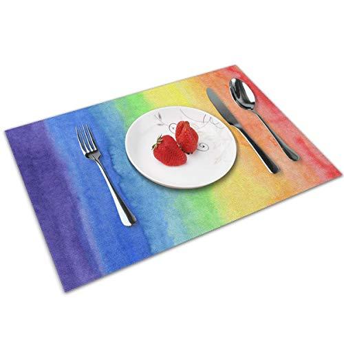 GuoJJ Tischsets 4er-Set, abstrakt Aquarell Regenbogen Gradient Hitzebeständige Tischsets Waschbare Tischsets für Küche Esstisch 12X18 Zoll