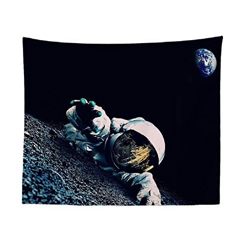 Playa Puesta de sol Cocotero Espacio Astronauta Caballo Patrón Tapiz Tapiz de pared Tapiz de poliéster 180x180cm