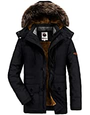 Warme winterjas voor heren, parka, jas met bont, winterjas met capuchon, overgangsjas, gevoerde winterparka.