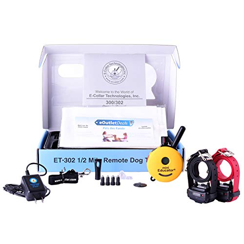 Mini Educator E-Collar ET-300 / ET-302 Dog Training Collar System with Remote - 1/2 Mile Range - Waterproof, Vibration, Tapping, Sensation - Includes eOutletDeals Pet Towel (2 Dog System - ET-302)