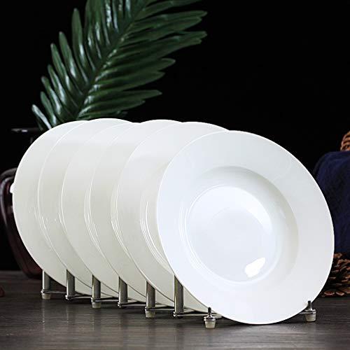 XIUXIU Ensemble Rond De Ménage Européen Simple Plaque 6 Pack Set Vaisselle Santé Et Protection De L'environnement Plat En Céramique (Taille : H)