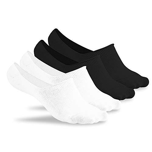 FLINK Herren Damen Füsslinge Beste Qualität 5 Paar, Weiß, 35-38 I Unsichtbare Sneaker Socken I Extra Rutschfest I Lange Haltbarkeit