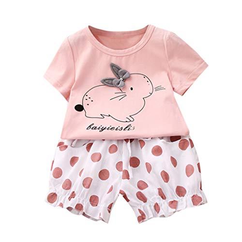 JUTOO 2 Stücke Set Ostern Kleinkind Baby Kinder Mädchen Kaninchen Tops + Dot Kurze Hosen Lässige Outfits (Rosa,110)