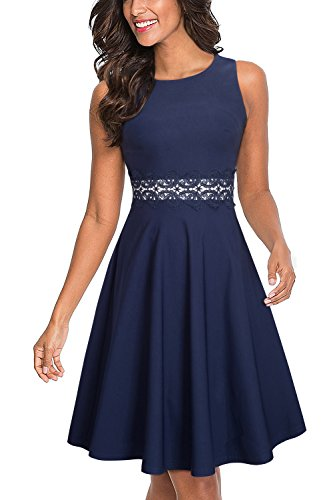 HOMEYEE Women's Sleeveless Cocktail A-Line Embroidery Party Summer Dress A079 (4, Dark Blue)