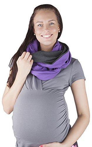 Mija - 2 en 1 Soins Écharpe d'allaitement / couverture de soins Cotton 9013 (Graphite / Violet)