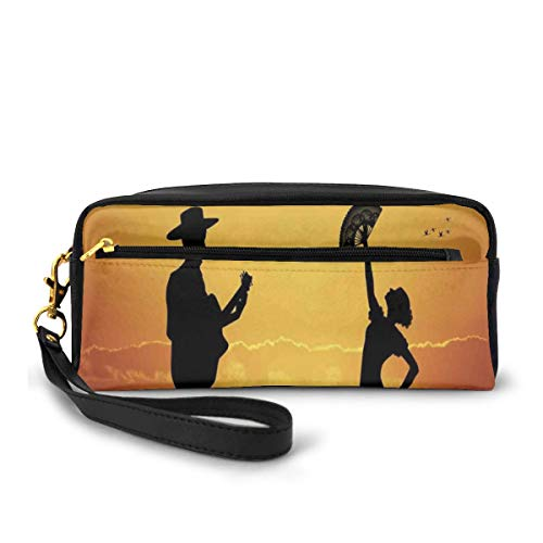 Pencil Case Pen Bag Pouch Stationary,Flamenco Couple Dancer and Guitarist Silhouettes at Sunset Scenery,Small Makeup Bag Coin Purse