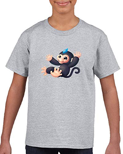 Fingerlings Tee Baby Monkey Toy Cute Kids T Shirt Gris
