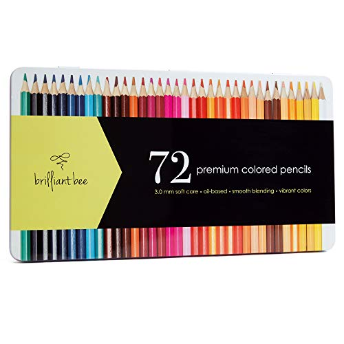 Brilliant Bee Premium Colored Pencils for Adults Oil Based with Metal Case 72 Count