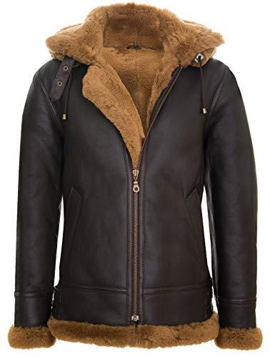 Infinity Leather Chaqueta para Hombre con Capucha y Piel de Oveja de Cuero Genuino Estilo Aviador B3
