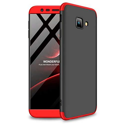 RXD Funda Samsung Galaxy J4 Plus/J4 Prime+Película Vidrio Templado Cubierta 360 Grados Caja protección de cáscara Dura Anti-Shock Anti-rasguño Protector Completo del Cuerpo 360°Caso Mate(Rojo Negro)