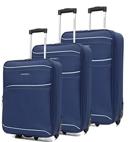 GREENWICH | Juego 3 Maletas Palma | Trolley 2 Ruedas | Talla Grande G, Mediana M, Pequeña P | Azul | Correas de Embalaje | Bolsillo Interior