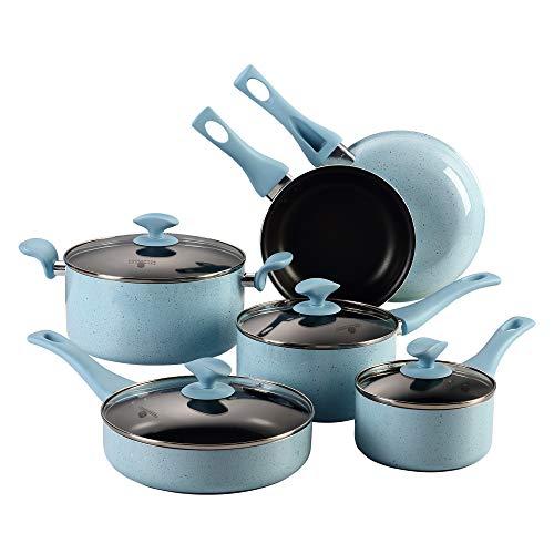 Cooksmark Esmaltado de Porcelana Batería de Cocina 10 Piezas Juego de Ollas y Sartenes Antiadherentes Juego de Cacerolas con Tapas de Vidrio Azul Apta para Lavavajillas