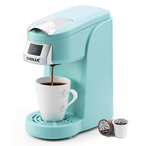 CHULUX Single Cup Coffee Maker Machine,12 Ounce Pod Coffee Brewer,One Touch Function for Brewing Capsule or Ground Coffee,Cyan