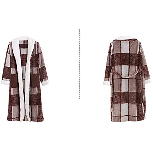 GNLIAN HUAHUA Homewear Engrosamiento Pijamas del otoño y del Invierno de los Hombres de la Albornoz Albornoz Moda Pijamas, además de Terciopelo, XL Vendaje (Size : Click to Select Large)