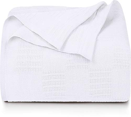 Utopia Bedding Premium Cotton Blanket King White - Soft Breathable Thermal Blanket 350 GSM - Ideal for Layering Any Bed