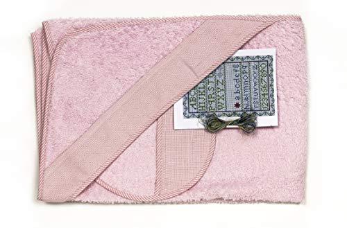 Ti TIN - Pack Capa de Baño de Bebé + Capucha + Babero de Punto de Cruz 100% Algodón con Tacto muy suave, Color Rosa, 100x100 cm