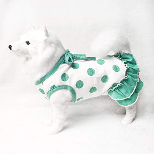 TONY HOBY Pet Dresses Dog Dresses Made of Pure Cotton with Green Dot for Small Medium Large Dog Review