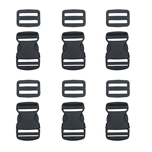 6 Set 25mm/1inch Buckles Clips and Tri-Glide Slides, Flat Side Release Buckles - Heavy Duty Replacement Buckles Clip for Backpack Repairing, Luggage Fastening Strap, Pet Collar Making and More