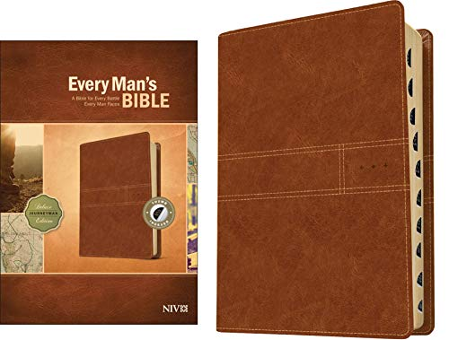 Every Man's Bible NIV, Deluxe Journeyman Edition (LeatherLike, Tan, Indexed) – Study Bible for Men with Study Notes, Book Introductions, and 44 Charts