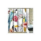 Blisfille Badezimmer Duschvorhang Bunter Papageien 180X180Cm Wasserdichtes Gewebe Mehltau Beständiges Waschbares Polyester Weißen Plastikhaken Langen Duschvorhängen Anti-Schimmel Antibakteriell
