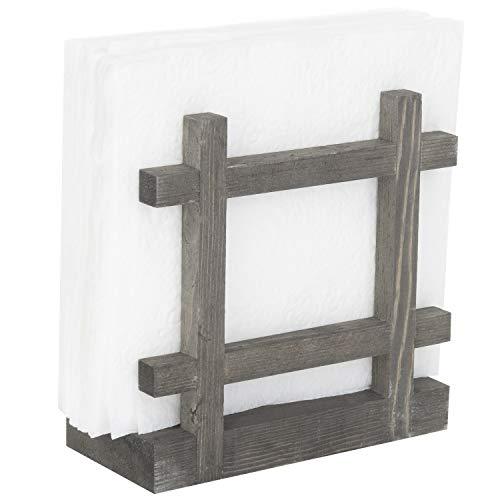 Rustic Wood Cross-Corner Napkin Holder, Table Top Paper Towel Dispenser, Vintage Gray