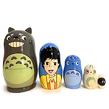 Exclusive Russian Nesting Dolls Anime Totoro 5 Pieces Author s Hand-Painted Set of 5 Handmade Toys Gift Doll House Decor Matryoshka 5 Dolls in 1 .