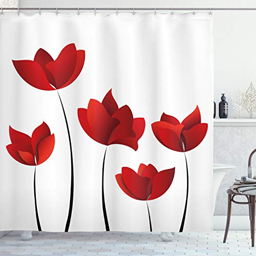 """Ambesonne Floral Shower Curtain, Valentine's Day Art of Warm Colored Rose Petals and Blossoms Florets Nature Art Illustration, Cloth Fabric Bathroom Decor Set with Hooks, 75"""" Long, Vermilion and White"""