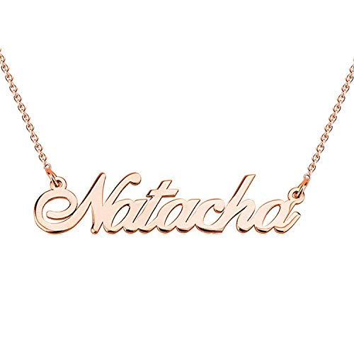 hacool Name Personalized 18K Gold Plated Beauty Name Necklace Pendant Jewelry Custom Made with Any Name (Rose Gold-Copper)