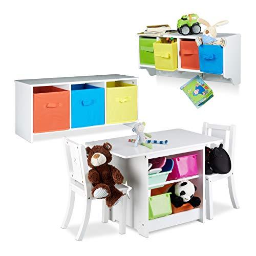 Relaxdays 3 TLG. Kindermöbel Set Albus, Wandregal für Kinder, Sitzbank mit Stauraum, Kindersitzgruppe mit 2 Stühlen, Faltbox, weiß