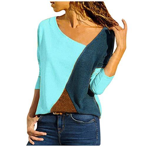 MRULIC Damen Kurzarm T-Shirt Rundhals Ausschnitt Lose Hemd Pullover Sweatshirt Oberteil Tops (EU-48/CN-4XL, A-Blau)