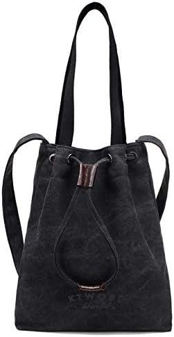 H/A New Korean Wave of Literary Fashion Retro Minimalist Canvas Bag Big Bag Shoulder Diagonal Bag Hand Bags MENGB (Color : Black, Size : 28X35X7CM)
