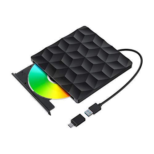 Lector de DVD/CD, BlitzWolf Grabadora de DVD/CD Externa USB 3.0 Portátil Diseño Ultra Delgado para Computadora de Escritorio y Portátil, MacbookAir / Pro, iMac, Windows7 / 8/10 / XP, Mac OS, Linux