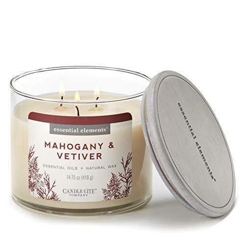 Essential Elements by Candle-Lite Company Duftkerze aus Mahagoni und Vetiver, mit einem Docht, Cremeweiß 14.75 oz. beige