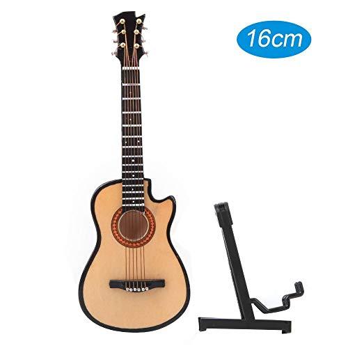 Miniatuurgitaar, mini houten akoestische gitaarmodel met standaard en koffer Muziekinstrumentmodel Hobby Collectibles Gift(16cm)