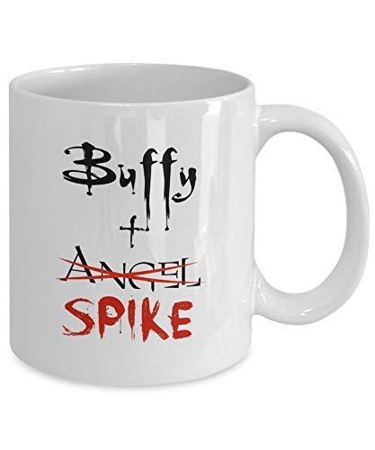 DKISEE Buffy Plus Spike Angel Vampire Slayer Sunnydale Fandom White Movie TV Geschenke Lustige Kaffeetasse Geschenk für Frauen 313 ml