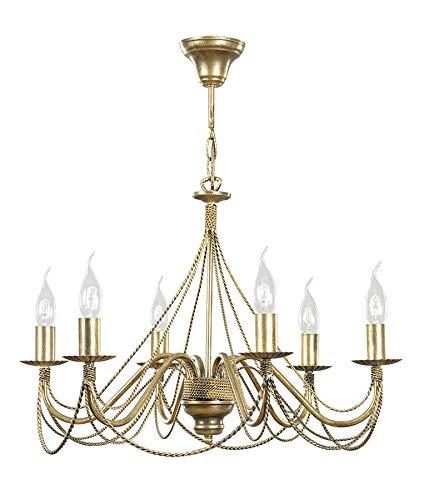 Preisvergleich Produktbild Großer Kronleuchter in Gold antik 6 Arme Ø63cm Rustikal MARIA Lüster Esszimmer Wohnzimmer Hängelampe