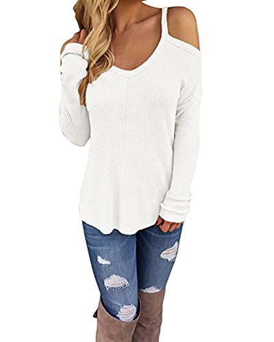 Cnfio Cold Shoulder Long Sleeve Knitted Sweater Top For Women Oversize Loose Blouse White XL