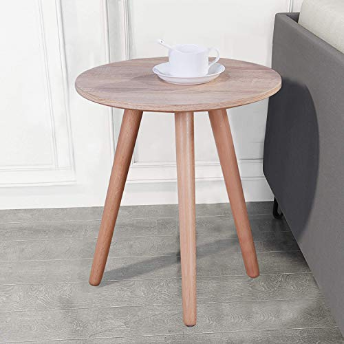 GOLDFAN Retro Wood Side End Table for Sofa Small Round Modern Coffee Table with Black Metal Legs for Living Room,Light Brown