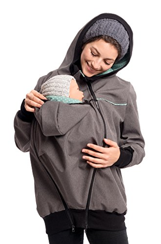 Viva la Mama - Umstandsjacke Herbst Winter warm Softhshell Mama und Baby Jacke zum Tragen - Jacky - grau-Mint - M