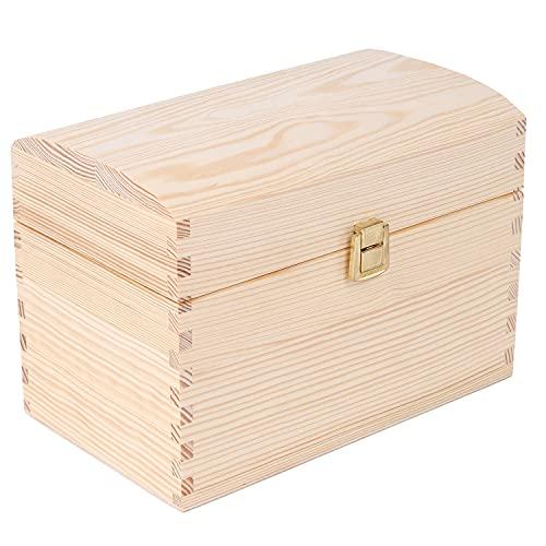 Creative DECO Cofre Caja Madera | 25 x 15 x 17 cm | con Cierre de Metal y Tapa Redondeada | Decoración Decoupage Almacenaje de Documentos Objetos de Valor Juguetes