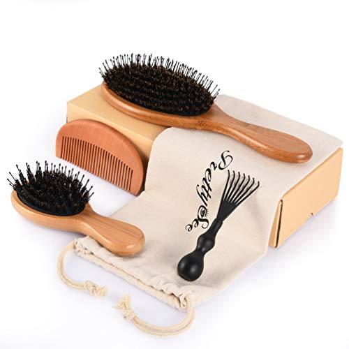Brosse à Cheveux en Bambou avec Poils de Sanglier - Ensemble de Brosses à Cheveux pour Cheveux Lisses, Bouclés, Courts, Longs pour les hommes, les femmes et les enfants