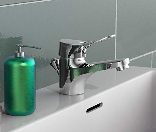 EISL Waschtischarmatur Verona, Badezimmerarmatur mit Ablauf-/Exzentergarnitur, Einhebelmischer, Chrom, NI075VECR