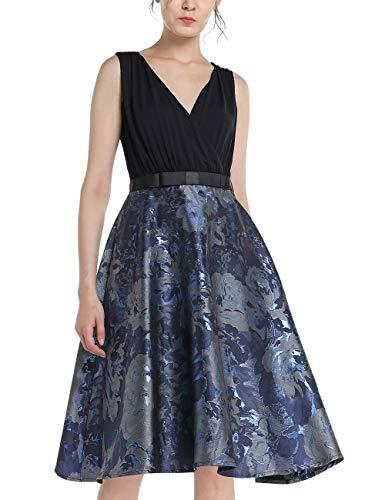 APART Elegantes Damen Kleid, Cocktailkleid, Materialmix: Jersey und glänzender Jacquard, Nachtblau, Blütenmuster, glockiger Rockpart, Rips-Taillenband mit Schleife