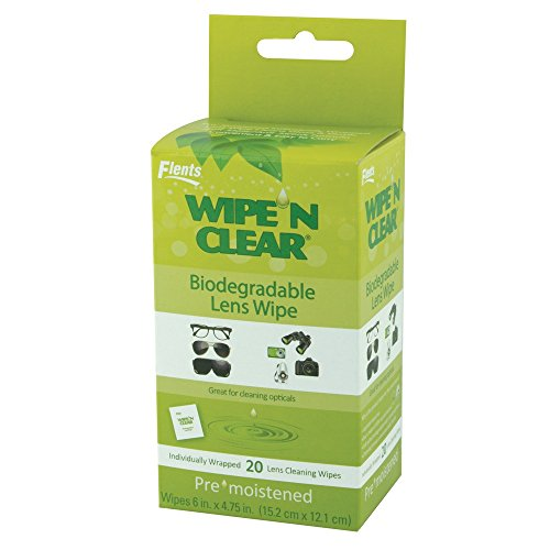 Wipe'N Clear Lens Wipes by Flents, 20 Biodegradable Lens Cleaning Wipes, Individually Wrapped, Eco Friendly Products